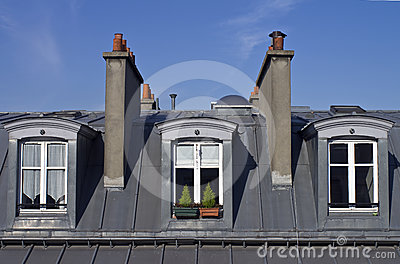 Attic windows in Paris.