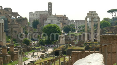 Attractions Rome. View from the Palatine Hill to the Roman Forum and the Colosseum in Rome stock video footage