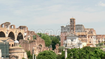 Attractions Rome. View from the Palatine Hill to the Roman Forum and the Colosseum in Rome stock video