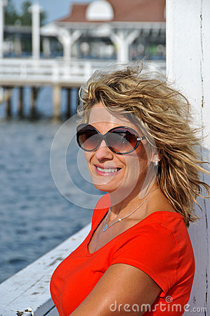 Attractive Middle Age Woman in Sunglasses Wearing