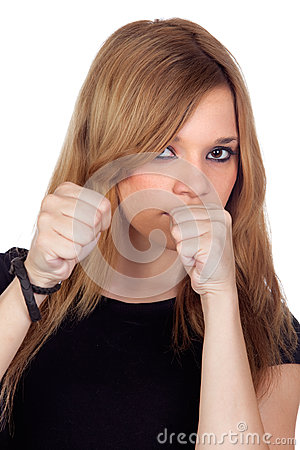 Attractive aggressive woman with black shirt