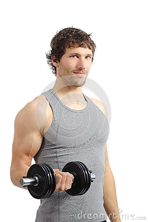 Free Attractive And Athletic Man Doing Weights Stock Images - 35879604