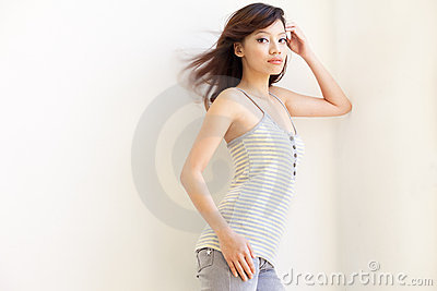 Attractive Asian Chinese Girl with windswept hair