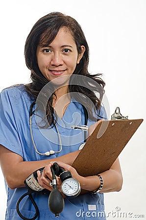 Attractive asian filipino nurse doctor