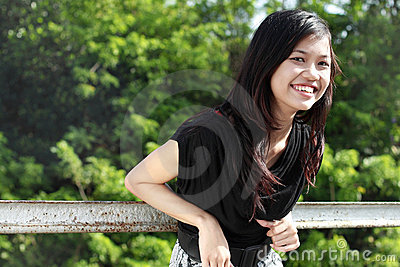 Attractive asian girl smiling