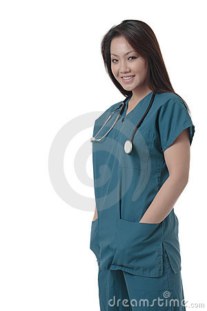 Free Attractive Asian Nurse In Scurbs Royalty Free Stock Photography - 650107