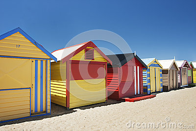 Attractive bathing boxes at Brighton Beach