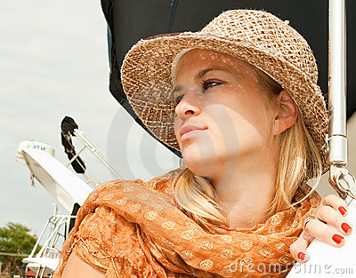 Attractive beauty woman with straw hat
