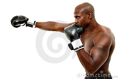 Attractive Black Male Boxer Over White