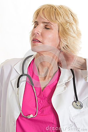 Attractive blond caucasian healthcare worker