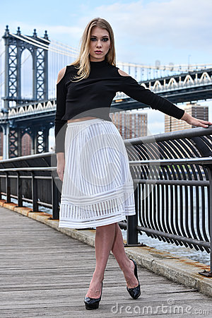 Free Attractive Blond Fashion Model Posing Pretty On The Pier With Manhattan Bridge On The Background. Stock Image - 72562771