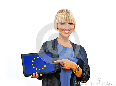 Attractive blond woman holding tablet with european union flag