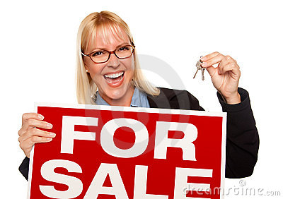 Attractive Blonde Holding Keys & For Sale Sign