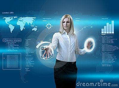 Attractive blonde navigating futuristic interface