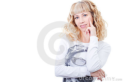 Attractive blonde smiling woman thinking