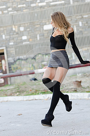 Sexy Blonde In Mini Skirt 40