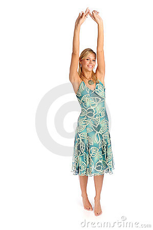 Attractive blonde woman in blue patterned dress