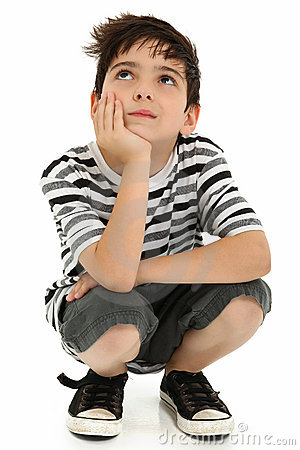 Attractive Boy Child Thinking