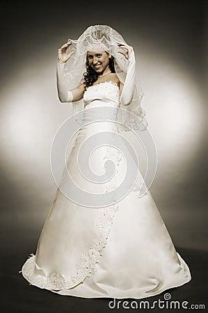 Attractive bride in full-length