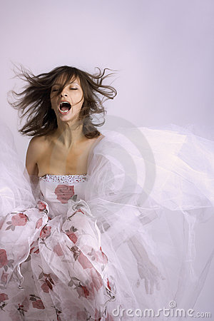 Attractive bride and great emotion