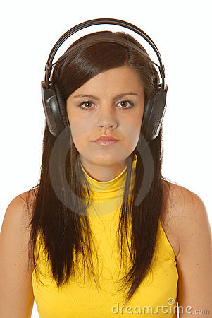 Attractive brown hair girl listening to music