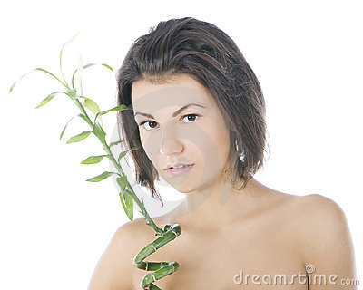 Attractive brunette with bamboo over white