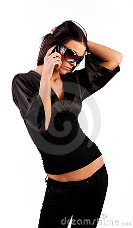 Attractive brunette calling by phone