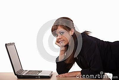 Attractive brunette caucasian business woman
