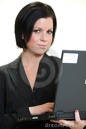 Attractive brunette caucasian businesswom