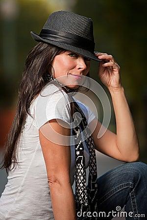 Attractive brunette caucasian forties woman