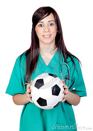 Free Attractive Brunette Doctor With Soccer Ball Stock Photo - 19792840