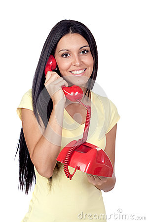 Free Attractive Brunette Girl Calling With Red Phone Royalty Free Stock Image - 27083186