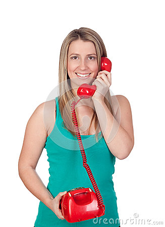 Free Attractive Brunette Girl Calling With Red Phone Stock Image - 29945041