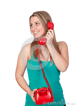 Free Attractive Brunette Girl Calling With Red Phone Royalty Free Stock Images - 30004689
