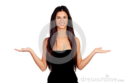 Attractive brunette girl with expression of doubt