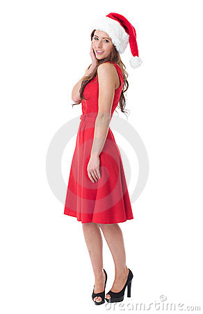 Attractive brunette girl in santa hat, isolated