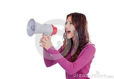 Attractive brunette girl shouting into a megaphone
