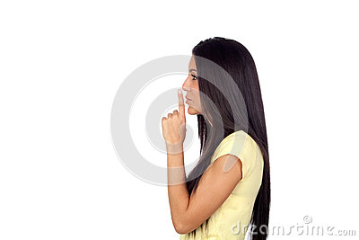 Attractive brunette girl woman for silence