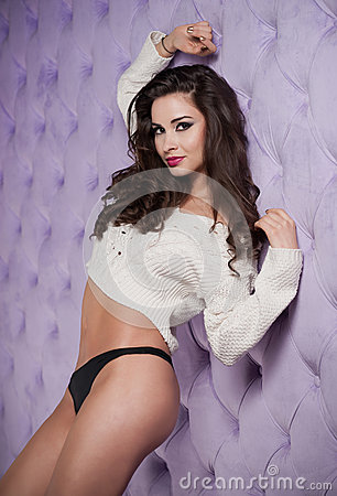 Free Attractive Brunette In White Blouse And Black Panties Posing Provocatively Indoor. Portrait Of Sensual Woman In Classic Boudo Stock Image - 47123561