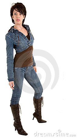 Attractive Brunette Lady Wearing Jeans and Boots