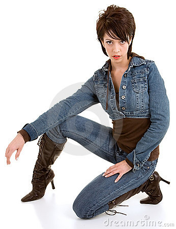Attractive Brunette Lady Wearing Jeans and Lea