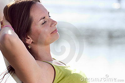 Attractive brunette relaxing