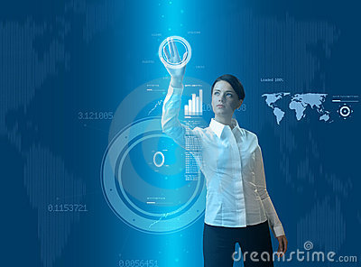 Attractive brunette woman in futuristic interface