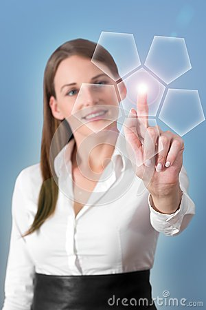 Attractive Brunette Woman Pressing Virtual Button