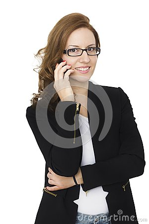 Free Attractive Brunette Woman Talking On Her Cell Phone Royalty Free Stock Photography - 42500547