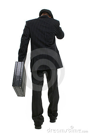Attractive Business Man In Pin Striped Suit & Hat Walking Away