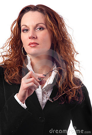 Attractive business woman with curly hair