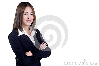 Attractive business woman with her arms crossed suit isolated