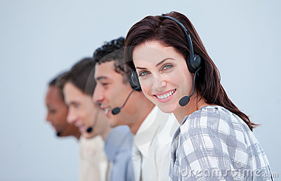 Attractive business woman and her team working