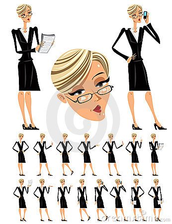 Free Attractive Business Woman Illustrations Set. Stock Photos - 18468383